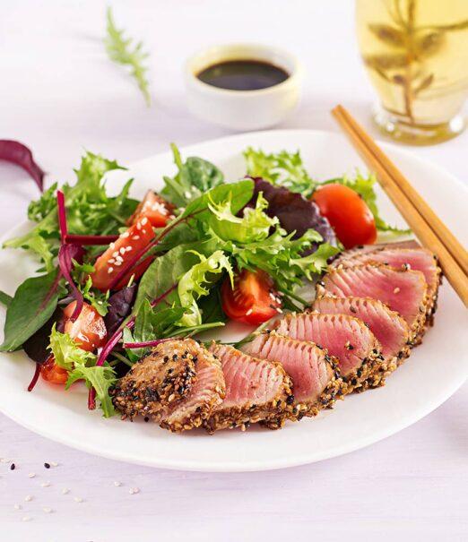 salmon with fresh green salad